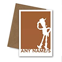 PERSONALISED Woody the Cowboy Greetings Card. Son, Brother, Boy, Uncle, Dad, Teacher. Perfect for Birthday, Fathers Day, Christening, Baptism, Naming Day, New Baby, Thank You or End of Term Toy Story
