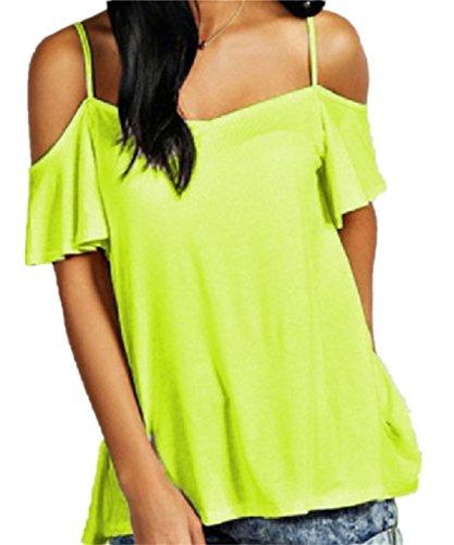 SHUNLIU Damen TM - Cherie Frauen Off-The-Shoulder Riemchen Cami Weste Damen Kalte Schulter Mode Schaukel Top Grün
