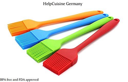 HelpCuisine [4er-Pack] Küchen Silikon Backpinsel/grillpinsel- BBQ Barbecue Pinsel Fleischpinsel Bratenpinsel hitzebeständig Küchenpinsel Kochpinsel in 4 tollen verschiedenen Farben