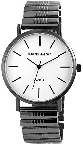 EXCELLANC Herrenuhr Weiß Titan-Look Analog Metall Zugarmband Quarz Armbanduhr