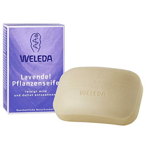 Lavendel-seife (WELEDA Lavendel Pflanzenseife, vegane Naturkosmetik Kernseife mit ätherischen Ölen entspannt und pflegt das Gesicht und den Körper besonders mild, erzeugt einen cremigen Schaum (1 x 100 g))