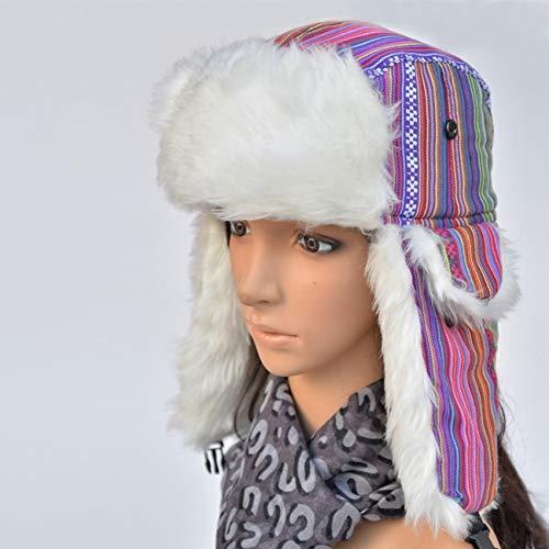 HUOLIMAO Winter Warme Beweis-Trapper-Hut-FrauenBedeckt Russisches Hutohr Mit Einer Kappe Flattert Hüte Für Frauen