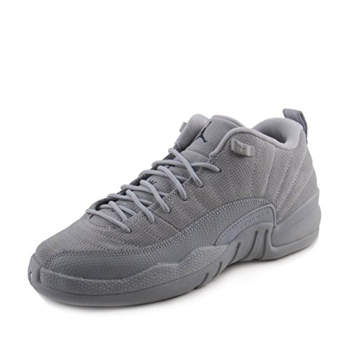 Jordan Nike Kids Air 12 Retro Low BG Wolf Grey/Armory Navy Basketball Shoe 6 Kids US