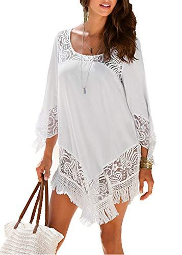 PANAX Damen Strand Shirtkleid Spitz Bikini Cover up Sommer Poncho Weiß