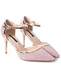 DALL Zapatos de tacón Ly-601 Brillante Uppers Primavera Y Verano Zapatos De Mujer Apuntado Cabeza Tacones Sandalias...
