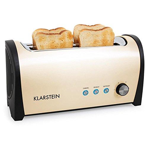 Klarstein Cambridge Toaster Doppel-Langschlitz-Toaster 4-Scheiben-Toaster Edelstahl Brötchenaufsatz 6-stufig einstellbarer Bräunungsgrad 1400 Watt creme