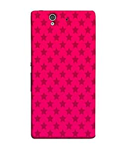 FUSON Designer Back Case Cover for Sony Xperia Z :: Sony Xperia ZC6603 :: Sony Xperia Z L36h C6602 :: Sony Xperia Z LTE, Sony Xperia Z HSPA+ (Multi Star Pattern With Pink background Shining Stars Sky)