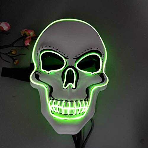 Ckssyao LED leuchtende Ghost Head Glow Maske, Horror Halloween, Ostern Requisiten, Street Dance Maske, geeignet für Rave Party Bar Club,Weiß