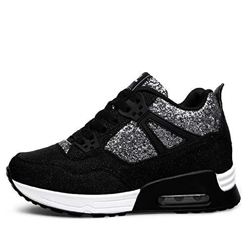 AONEGOLD Sneakers Zeppa Interna Donna Scarpe da Ginnastica Fitness Basse Tacco 7 cm(Nero,35 EU)