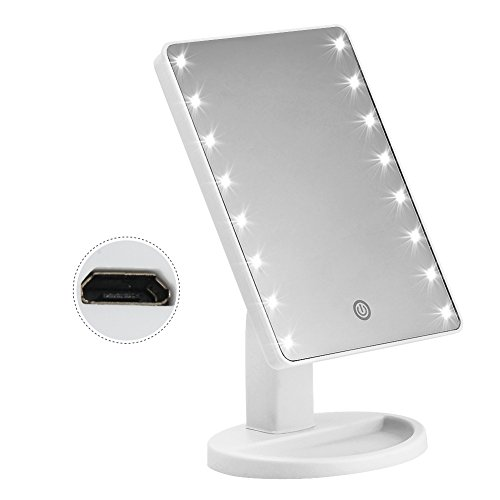 KYG USB Ladeanschluss Make up Spiegel 16 LEDs,Dimmerbar,Touch Schalter Schminkspiegel,batteriebetrieben Beleuchtet Kosmetikspiegel Weiß