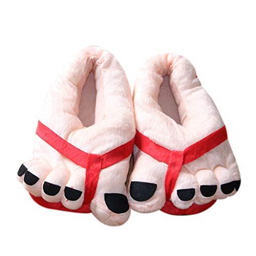 OHQ Plüsch Hausschuhe Erwachsene Baumwolle Pantoffel Slipper Furry Neuheit Schuh Kappe große Füße Hausschuhe Spaß Kostüm Winter Schlappen Haus Boden ()