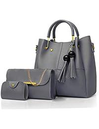 Envias Leatherette Handbags For Women's Ladies Combo Of 3 (PlusCombo_Grey_EVS-108)