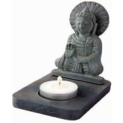 Gris Sentado Buda Esteatita VELA PORTAVELAS 11cm Regalo