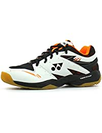 Yonex SHB 55 Badminton Shoes, UK 6 (White/Orange)