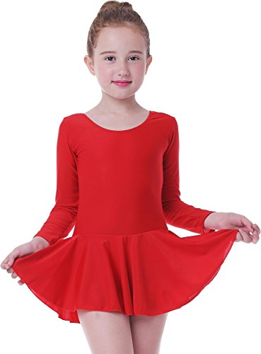 zug Mädchen Ballett Tütü Kinder Ballettkleid- Gr. Höhe 115cm, Lange ärmel rot ()