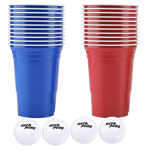 Bier Pong Cups Trinkspiel Set 22 STÜCKE Kunststoff Spiel Tassen mit 4 STÜCKE Ping Pong Bälle Outdoor Camping Bar Pub Partei Liefert 16 unze MEHRWEG VERPACKUNG (red cups 11+blue cups11+4balls) - Ping-pong-bälle Neuheit
