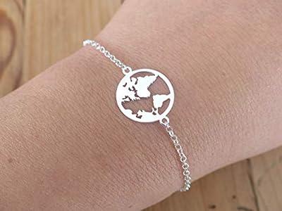 Bracelet fin carte du monde argent 925 -Bracelet globe terrestre- Bracelet chaine argent- Mappemonde- Planète terre- Voyage -