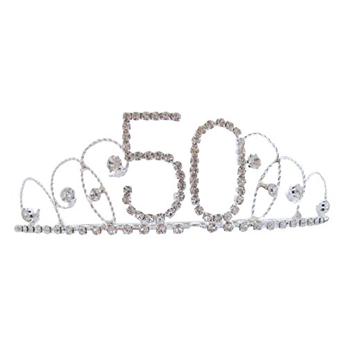 Pick A Gem Hair Accessories Silver Diamante Crystal 50th Birthday Tiara Crown / Happy 50th Birhday Test