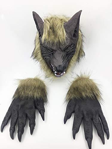 QETU Halloween-Maskerade-Tierkopf-Graue Wolf-Maske, Kleidungs-Party-Silikon-Maske, Handschuhe Dreiteilig