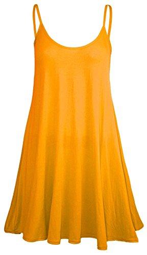 NEW dernière Cami Débardeur pour femme bretelles imprimé Swing robe longue sans manches pour femme Mesdames Tops Orange - Orange
