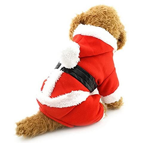 smalllee_lucky_store Pet Cat Dog Clothes Christmas Santa Claus Costume Hoodie Velvet Coat Jumpsuit Small Dog Clothes S by