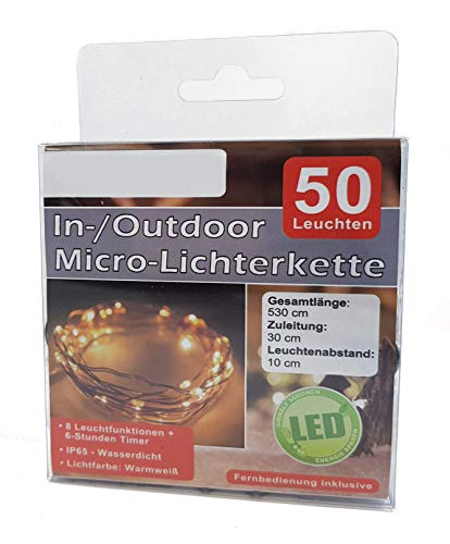 Preisvergleich Produktbild LED Micro Lichterkette mit Fernbedienung und Timer - 50 LED warmweiß - Draht Lichterkette mit Batteriebetrieb für Innen und Außen