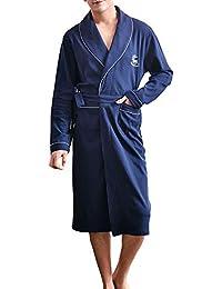 Bata De Manga Larga Camisón De Los Hombres Pijamas Primavera Otoño Batas De Algodón De Gran Tamaño para Hombre Ropa De Dormir…