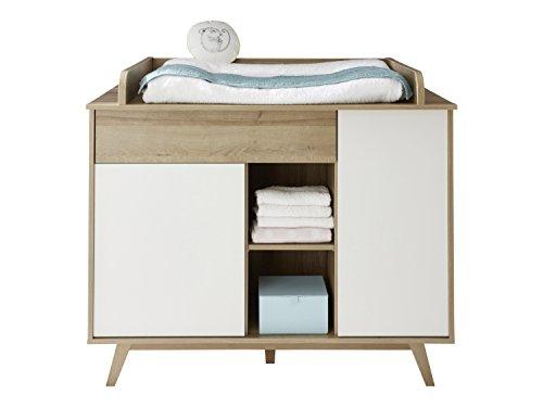 Preisvergleich Produktbild trendteam Babyzimmer Wickelkommode Kommode Boston, 115 x 100 x 77 cm in Korpus Eiche Honig Dekor, Front Weiß mit viel Stauraum und offenen Fächern