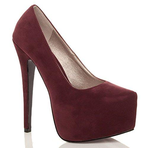 Damen Sehr Hoher Absatz Verdeckter Plateausohle Party Pumps Schuhe Größe Wildleder Burgunder Bordeaux Kirsche