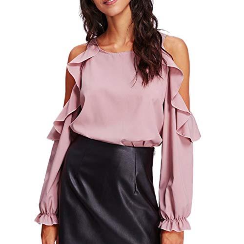 ESAILQ Frauen Plissee Rundhals Solide Bluse Langarm Tshirt Tops(Large,Rosa) (Erwachsenen-raglan-langarm)