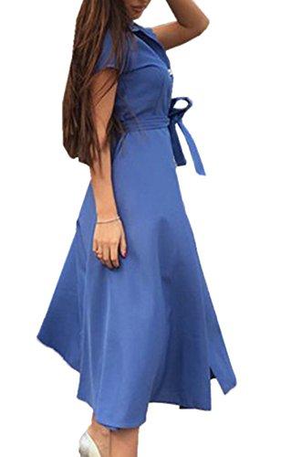 Donne Casual Single Breasted Linea Fasciatura Abito Collo Alto Maniche Corte A-line Camicie Vestito Shirt Dress Blu