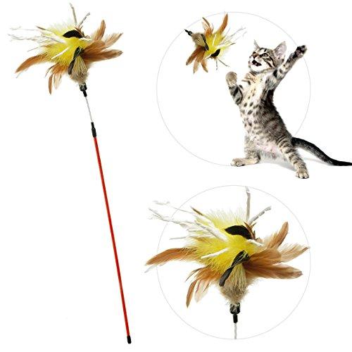 zaBouncer Katzenspielzeug (gelb) | interaktiver Federstab mit Natur-Federn & Knisterpapier | Premium Federwedel | langlebige Katzenangel | hochwertige Materialien – artgerecht – stabil – unwiderstehlich - spannend