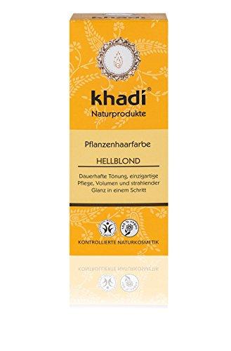 Khadi Pflanzenhaarfarbe Hellblond 100g I Naturhaarfarbe in kühlem, strahlendem Blondton I ayurvedische Haarfärbung aus Indien I hohe Grauabdeckung I Naturkosmetik 100% Bio