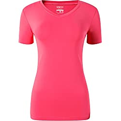 Jeansian Mujer Yoga Pilates Deportiva Workout T-Shirt Breathable Tops SWT240 Red