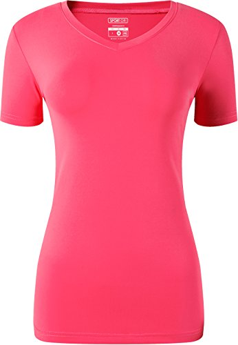 Jeansian Mujer Yoga Pilates Deportiva Workout Camisetas T-Shirt Breathable  Tops SWT240 Red XL 5a618454869eb