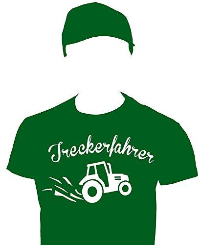 Coole-Fun-T-Shirts Treckerfahrer Trecker Kostüm Landwirt Set T-Shirt Cap Dunkelgrün Gr.152cm