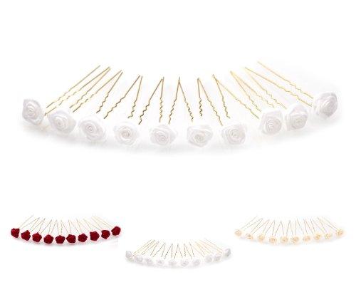 10 épingles à cheveux ornées de roses - accessoire pour coiffure avec du volume/de mariée - Épingle à cheveux dorée - blanc