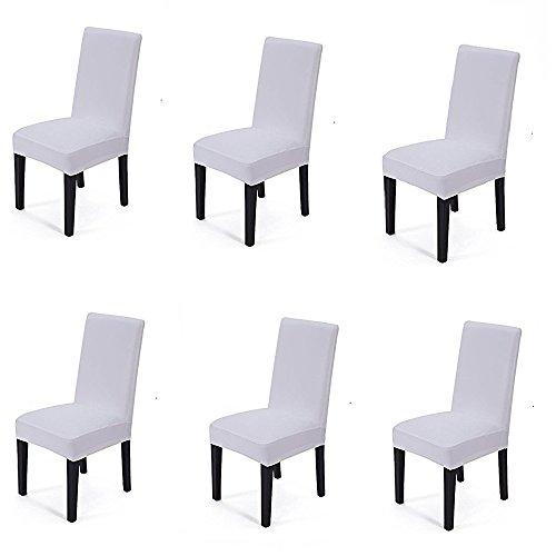 Schönes leben* 6er Elastizität Bügelfrei Stuhlbezug Stretchhusse Stuhlhusse Stuhlüberzug Husse für die Hochzeit (Weiß)