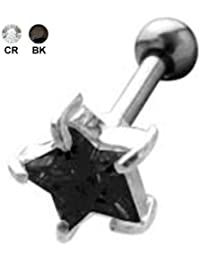 Ohr Piercing Tragus Helix Ohrschmuck Stern Zirkonia Kristall Stein, 316L Edelstahl Barbell, 925 Silber Fassung - TIP158