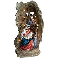 Flambeaux str31sf- Jolie Estatua de la Sagrada Familia Belén de Navidad–31cm con luz LED