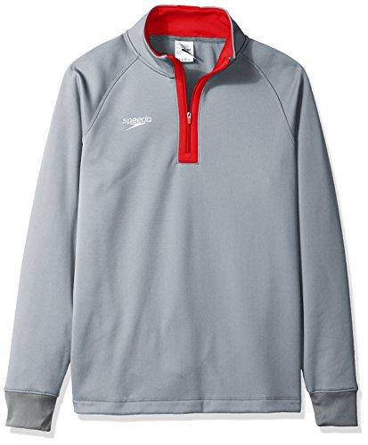 Speedo Unisex 3/4 Zip Pull Over Warm Up Jacket, Large, Red