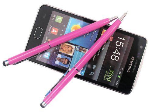 2x PINK tomaxx kapazitiver Stylus Pen - Eingabestift mit Kugelschreiber für Sony Xperia Z2 Tablet, Sony Xperia Z2, Samsung Galaxy S5, Samsung Galaxy Note Pro P905, P900, Samsung Galaxy Tab PRO, ZTE Nubia Z5S, Samsung Galaxy Core LTE, Samsung GALAXY Core Plus, Alcatel One Touch Idol Alpha, LG L40, LG L70, LG L90, Wiko Highway, LG G Pro 2, Samsung Galaxy Note 3 Neo LTE+, HTC Desire 310, doro Primo 571, Allview A5 Quad, Sony Xperia T2 Ultra Dual