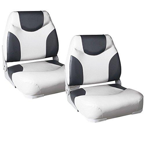[pro.tec] 2X Bootssitze \'Exclusive - Line\' (grau- Weiss) im Sparpaket - aus wasserfestem Kunstleder/Steuerstuhl / wasserfest/gepolstert / Kapitänsstuhl/Angelsitz / UV- beständig