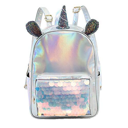 Rucksack Einhorn,Laser Rucksack Pailletten Rucksack Einhorn Backpack Süß trendig für Kinder Schule Schulrucksack Mädchen Rucksack mädchen süß