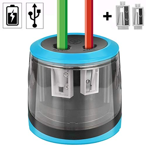 Tragbarer Elektrischer Anspitzer, Elektrischer Automatischer Bleistiftspitzer mit Auto-Stop-Funktion, für Nr. 2 Bleistifte und Farbstift, Stromversorgung über 4 × AA oder USB (exkl. Batterien) (Blau)