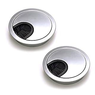 Dioxide 2 Stück Metall Kabeldurchführungen 60mm Kabeldurchführung Kabeldurchlass Kabeldose mit Borsten Bürste für Verschiedene Computer-Tische/Schreibtische - Silbermetall Perle Chrom