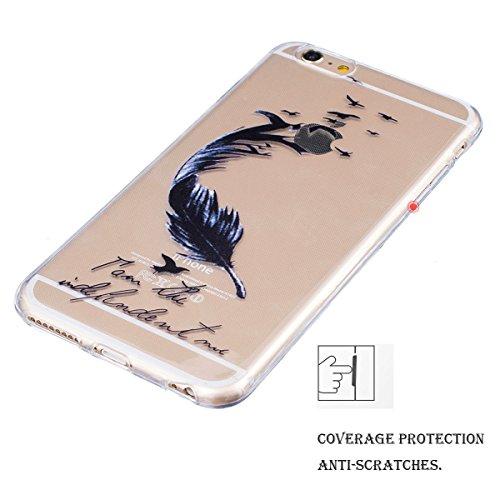 Coque iPhone 6S, Coque iPhone 6, SpiritSun Etui Coque TPU Slim Bumper pour Apple iPhone 6 6S (4.7 pouces) Souple Housse de Protection Flexible Soft Case Cas Couverture Anti Choc Mince Légère Transpare Plume Citation