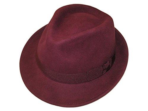 Unisexe Maroon 100% Laine en Feutre Fedora Chapeau avec Bande - 4 Tailles - Rouge - Small