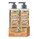 Love Beauty and Planet Loción corporal para Piel nutrida y suave, Manteca de Karité y Sándalo Vegano - Pack de 2 x 400 ml (Total: 800 ml)