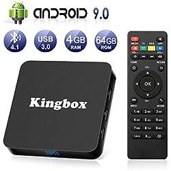 Android 9.0 TV Box BT4.1 [4GB RAM+64GB ROM] Boîtier TV 3D+4K [2019 Dernière Version] USB3.0 Kingbox Android 9.0 Smart TV, avec HD/H.265 / 4K / 3D / BT4.1
